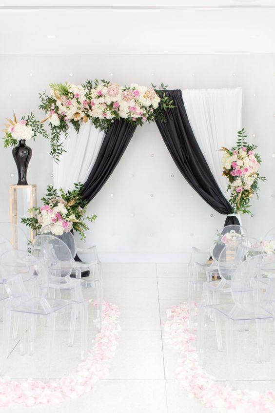 black white and pink modern wedding decor #weddinginspo Black