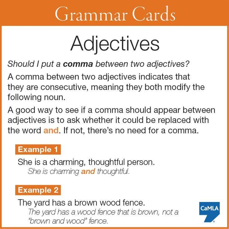 Using A Comma Between Two Adjectives Aulas De Ingles
