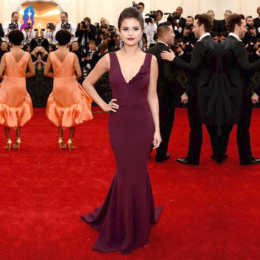 New Elegant Wine Red Mermaid Celebrity Inspired Dresses Satin V-Neck ...