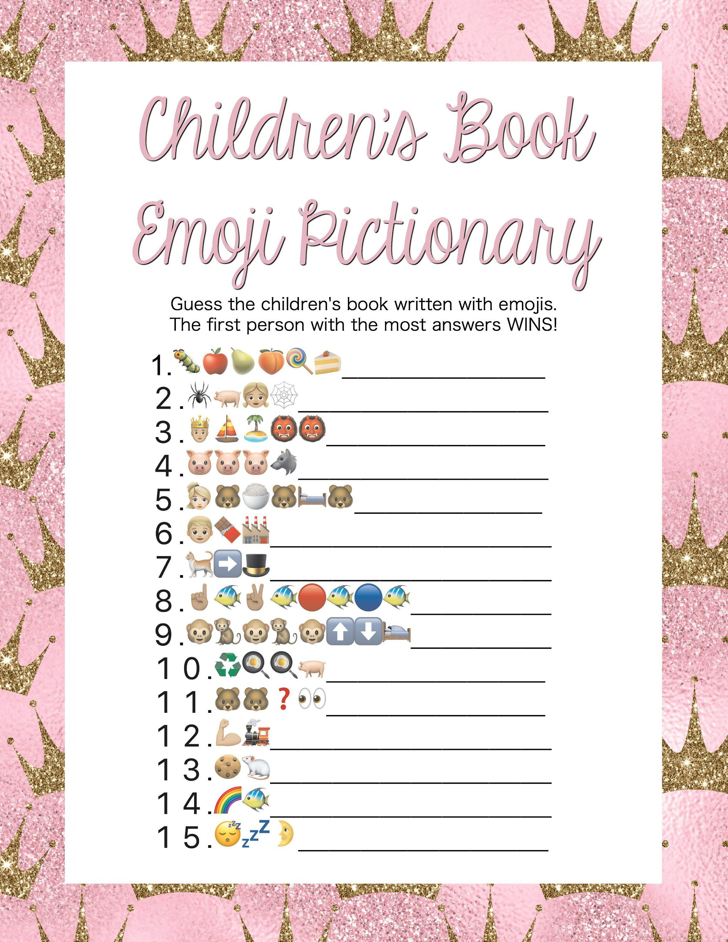 Pink Princess Children's Book Emoji Pictionary Game with ...