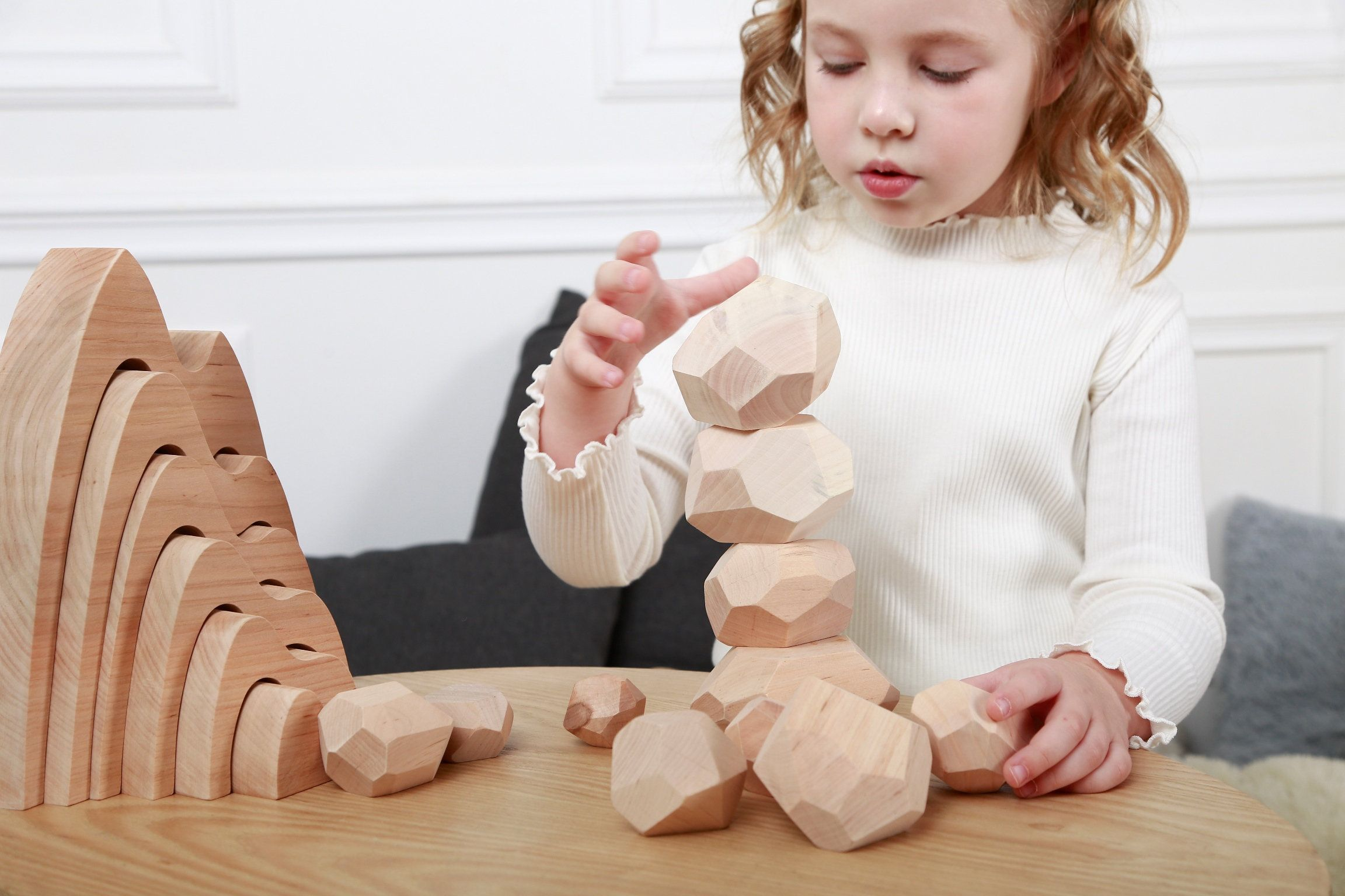 Montessori Toy Wooden Ring Stacker Unpainted Wooden Stacking Toy Toddlers Gift Waldorf Toys Natural Birthday Gift Natural Stacking Toy