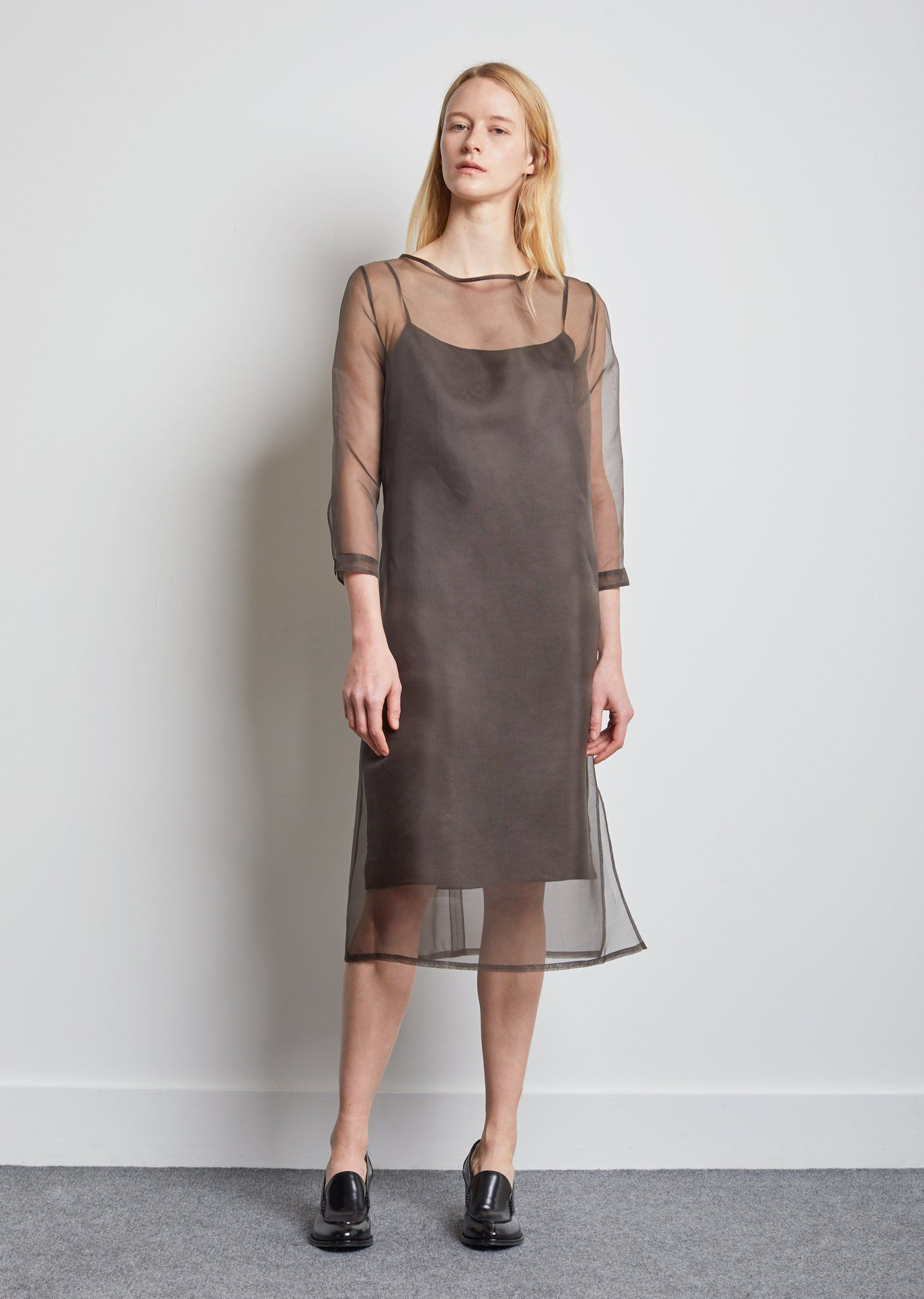 3c00ef47c9d La Garçonne Exclusive Grey silk organza shift with a double-layered silk  habotai slip—a seasonal iteration of the Didion dress. Relaxed fit.