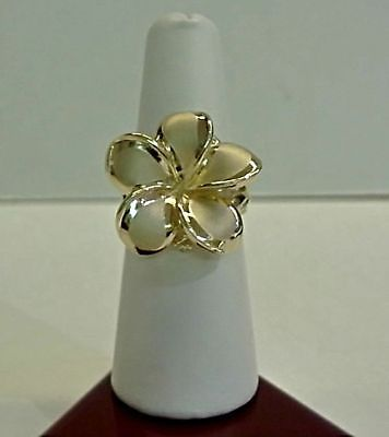 Brand New 14 K Yellow Gold Hawaiian Plumeria Flower Ring Cr868 Made In Hawaii Jewelry Rings Floral Rings