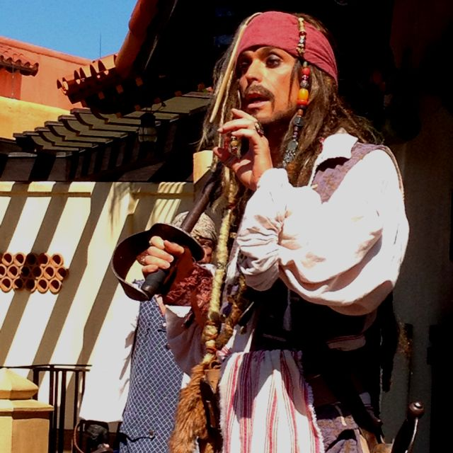 A great show at Magic Kingdom: Captain Jack Sparrow's pirate tutorial. In front of entrance to Pirates of the Caribbean ride. Check for show times upon arrival in the park.