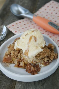 You Don't Know What You're Missing Apple Crisp with Caramel Swirl Ice Cream - www.myfriendsbakery.ca