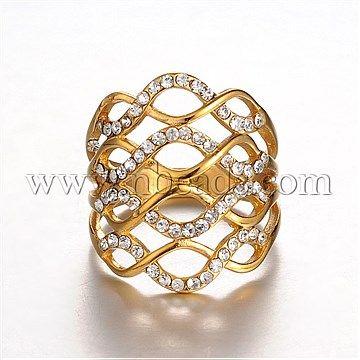 [€8.52]günstige Criss Cross Ring Goldenen Ton Chic Dame 316 Edelstahl Strass Breitband Fingerringe, Kristall, 18 Mm-nbeads.com