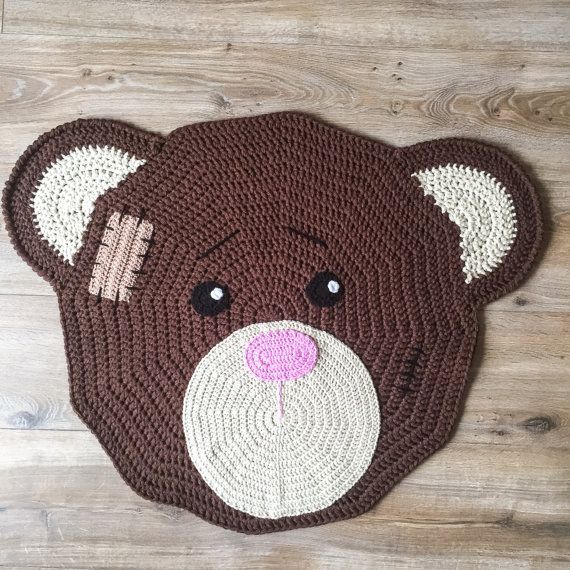 crocheted bear rug for nursery of children's roomknufl on etsy, Deco ideeën