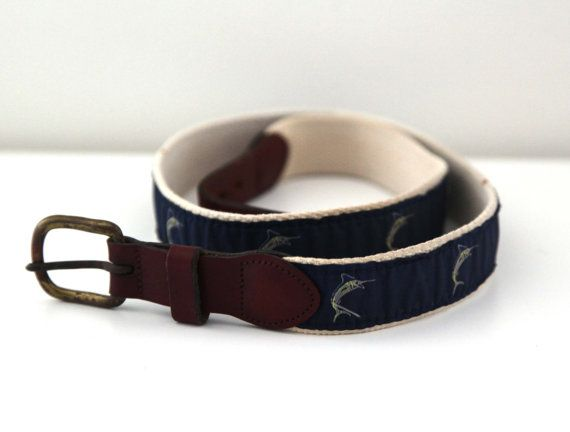 Vintage 80s belt preppy marlin fish fishing leather