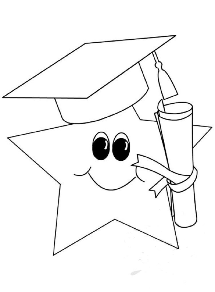 Cute Star Graduation Coloring Pages Kindergarten Coloring Pages, Free  Printable Coloring Pages, Printable Coloring Pages
