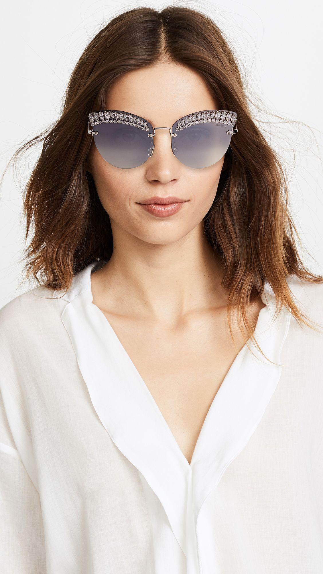cdd62b93cf3 Miu Miu Crystal Cat Eye Sunglasses