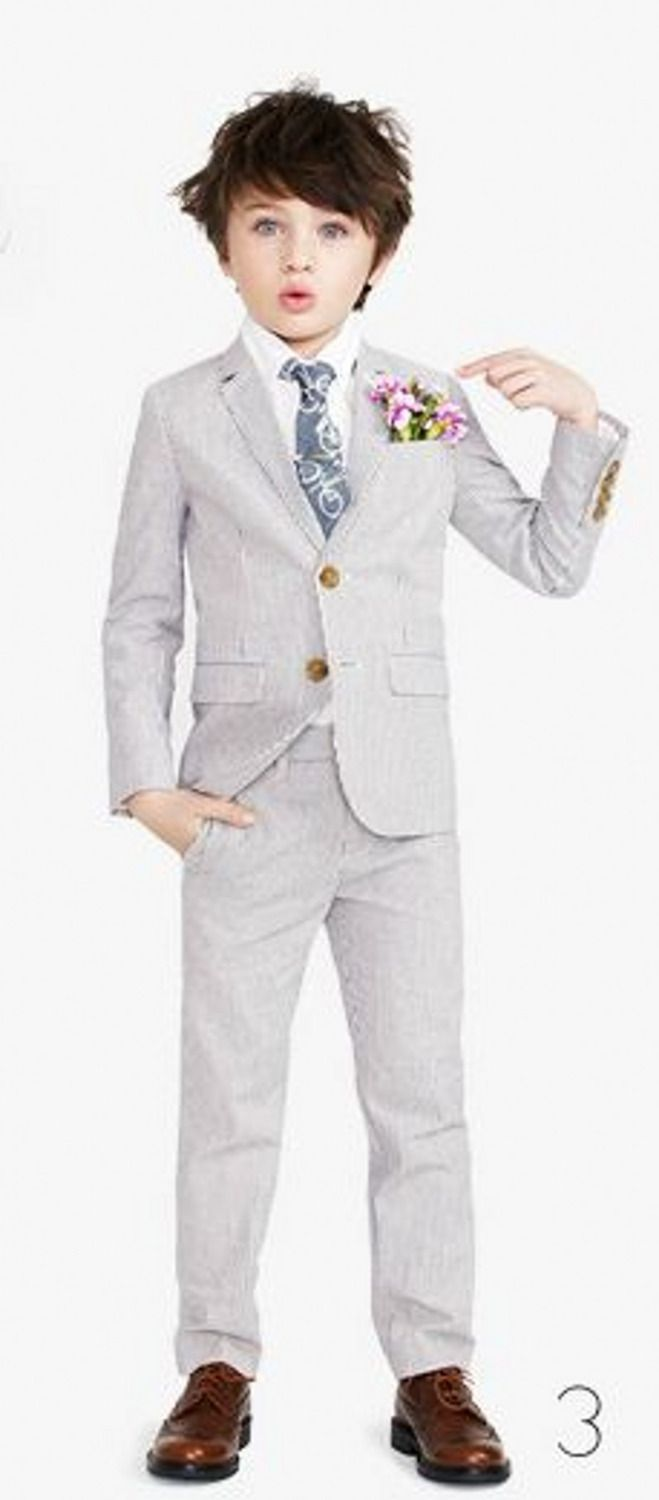 Click to Buy << Cheap 2016 Summer Light Grey Boys Wedding Suits ...