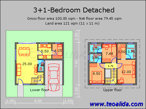 Http Www Teoalida Com Design Squarish House 100sqm Png Floor Plans House Floor Plans Floor Plan Design