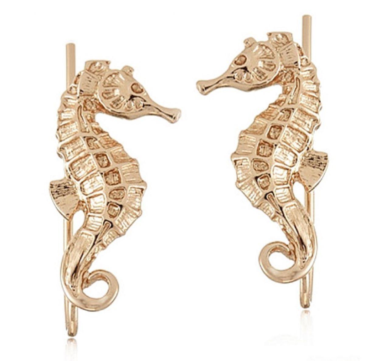 Seahorse Climber Earrings Gold