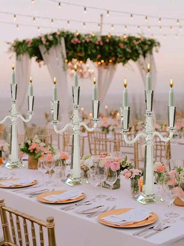 32  Tall 3 Arm PREMIUM Gem Cut Crystal Glass Candle Holder is part of Garden wedding - Choose from efavormart's wide range of Crystal Candle Stands, Candle Holders, Candlesticks, and Centerpieces  Spruce your Wedding Tables up with Real Glass Crystal Candle Stands and Candelabras