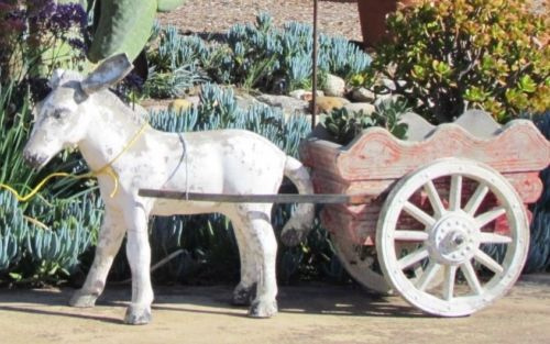 vintage donkey and cart pedro jr  garden art statue