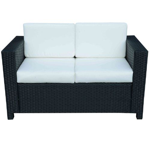 Outsunny Rattan 2 Seater Sofa Chair All Weather Wicker Weave Iron Frame