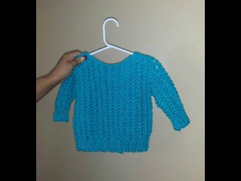 bb354c8acdad Loom knit baby sweater from leftover yarn for beginners - YouTube ...