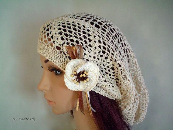 Lace CrochetTam Dreads Hat Oversized Beret Slouchy Beanie Boho Women Girl Beige Summer 2012 Cotton Vintage Style. $26.90, via Etsy.