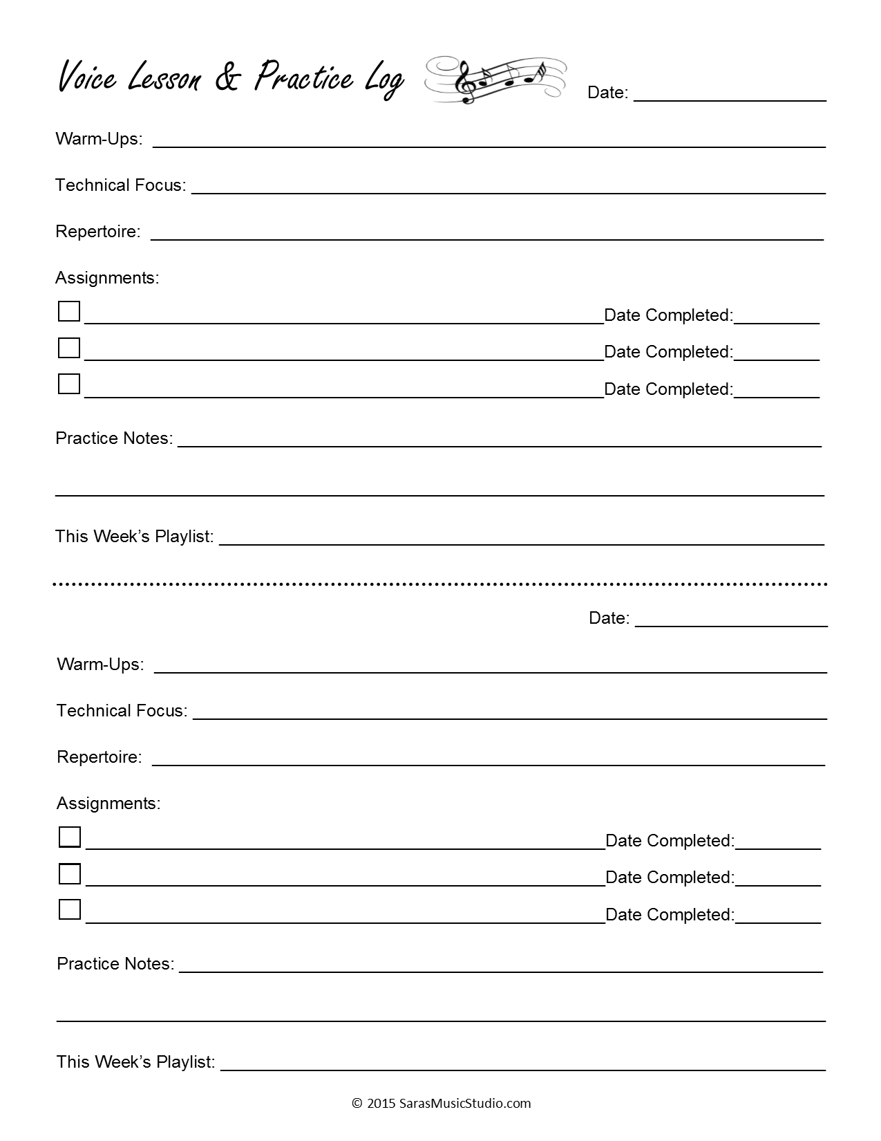 Voice Lesson Assignment Sheets