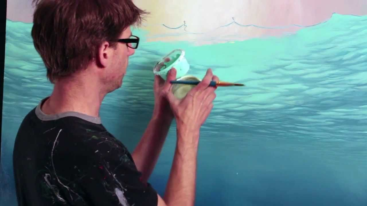 How To Paint Underwater Scenes 2 Surface Underwater Painting Underwater Art Surfboard Painting