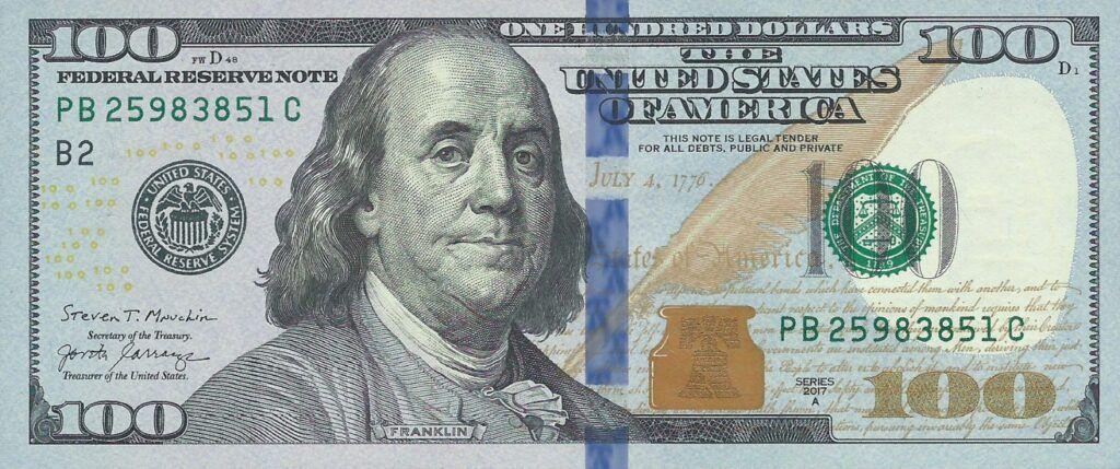 United States New Sig Date 2017a 100 Dollar Banknote New Signatures Jovita Carranza Steven Mnuchin And N 100 Dollar Bill Dollar Bill Federal Reserve Note