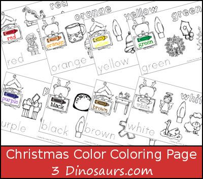Free Christmas Themed Color Coloring Pages - 3Dinosaurs 3 - new christmas abc coloring pages