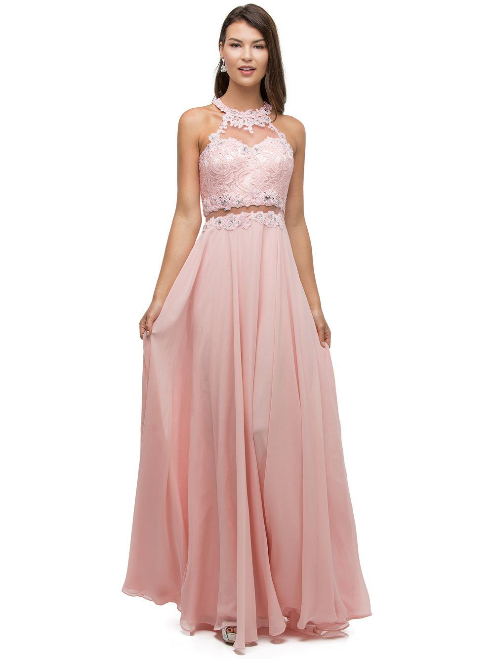 Lace mock Two-Piece cute Prom Dress DQ9548 - CLOSEOUT | Lace bodice ...