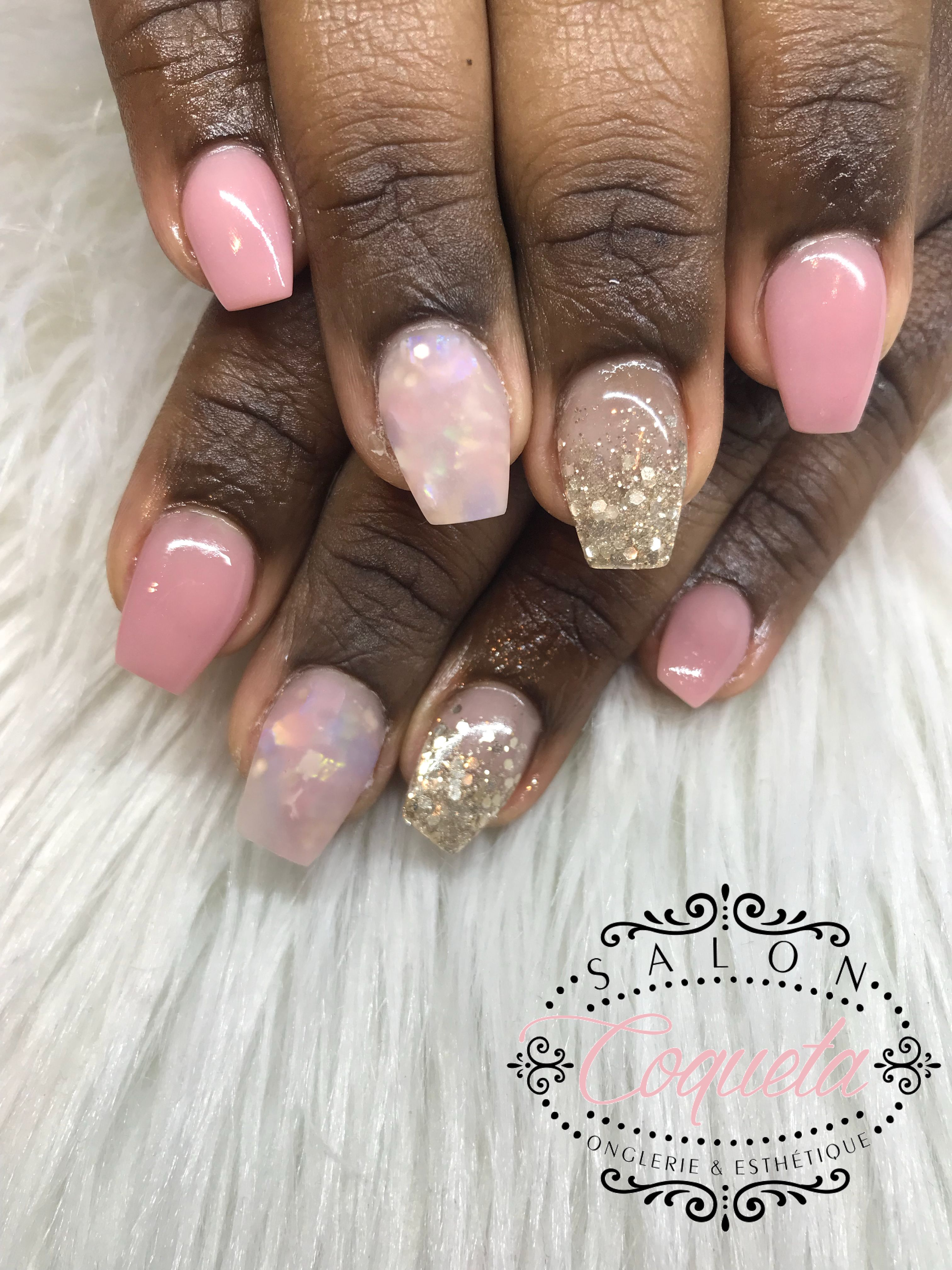 Coffin Long Nails Square Glitter Gold Pink Rose Gold Diamond Matte Nails Faded Gold Nails Rose Gold Nails Long Nails