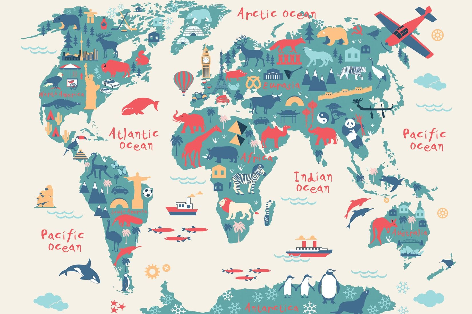 Explorer kids world map mural muralswallpaper design explorer kids world map mural muralswallpaper gumiabroncs Image collections