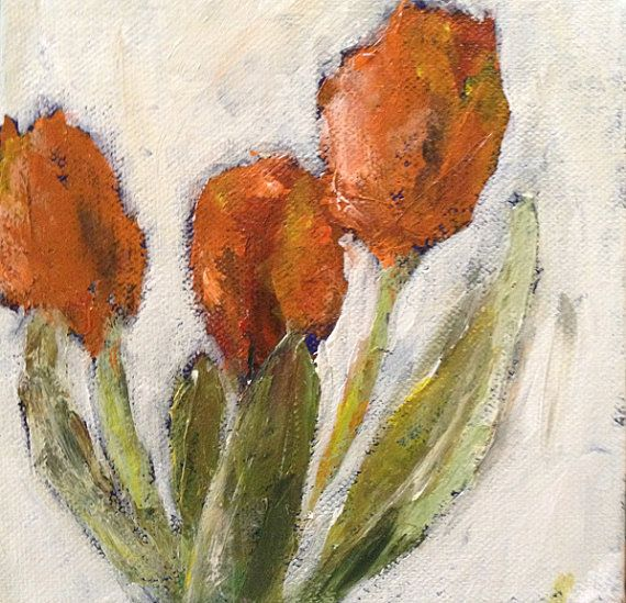 Orange Tulips 3 Abstract Floral Painting by LamaArt on Etsy, $50.00