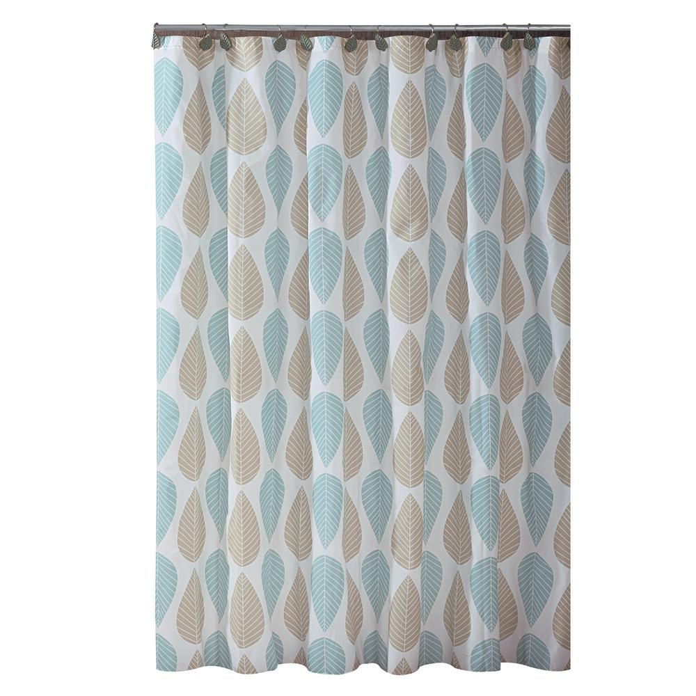 Bath Bliss Peva 70 In X 72 In Beige And Blue Leaf Design Shower
