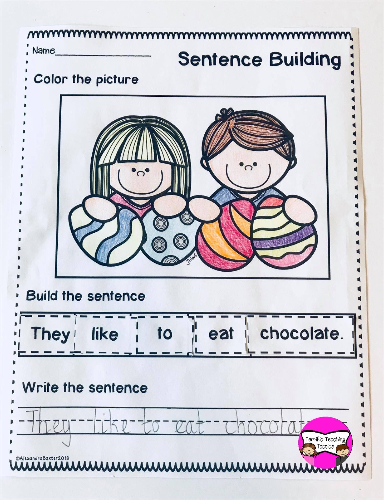 Easter Sentence Building Worksheets Kindergarten Resources Spring Lessons Holiday Activities [ 2048 x 1572 Pixel ]