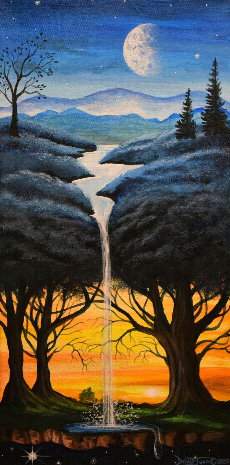Blauer Traumbaum/surreale Acrylmalerei/Baum Kunst/Wasserfall | Etsy