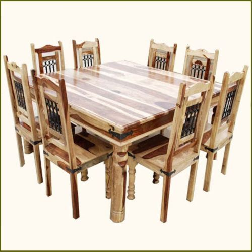 Rustic Solid Wood Large Square Dining Table Chair Set: Rustic Square Dining Table And Chair Set Seat 8 Person