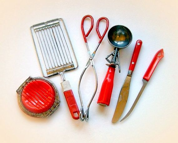 Vintage Kitchen Utensils   Mixed Lot Of Old Red Kitchen Utensils, 1950s  Kitchen