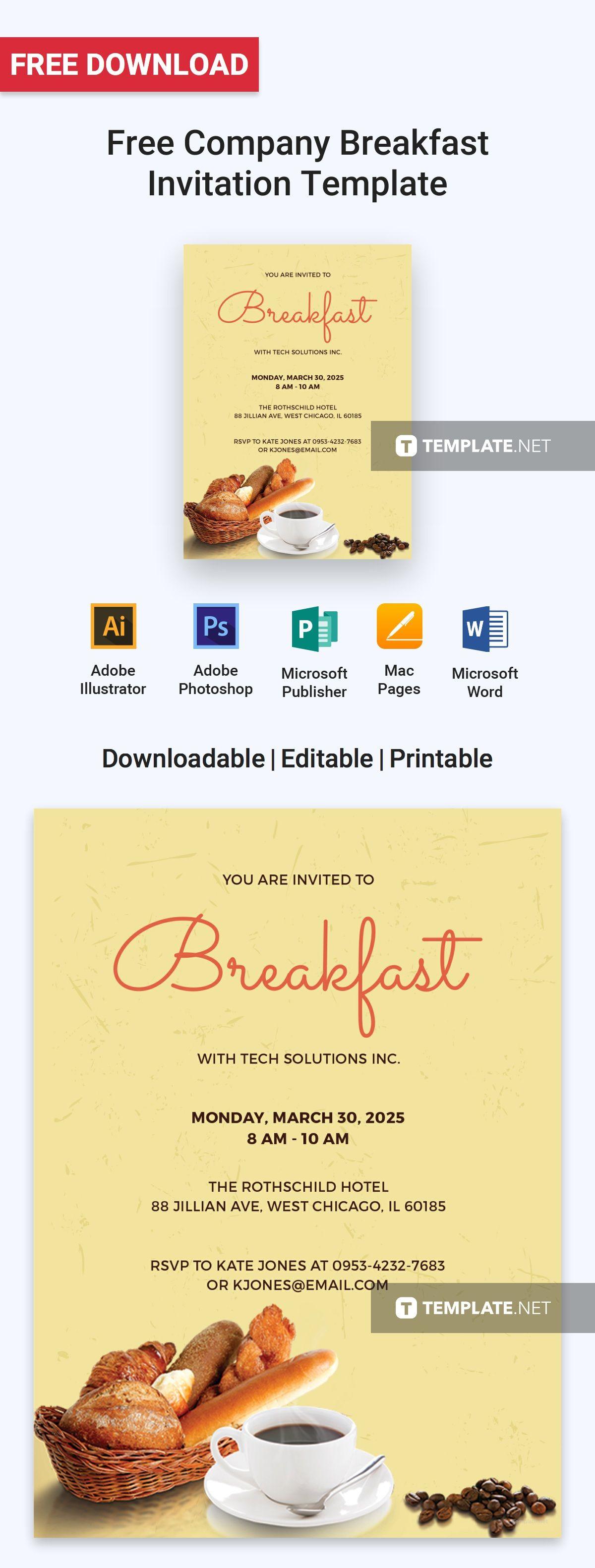 Free Company Breakfast Invitation