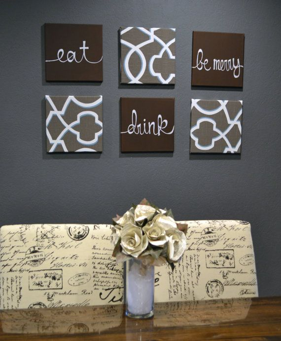 Eat Drink Be Merry Wall Art Pack of 6 Canvas Wall Hanging Set Hand Painted Canvas Sign Set Dining Room Decor Modern Chic Dark Brown Decor | Merry ... & Eat Drink Be Merry Wall Art Pack of 6 Canvas Wall Hanging Set Hand ...