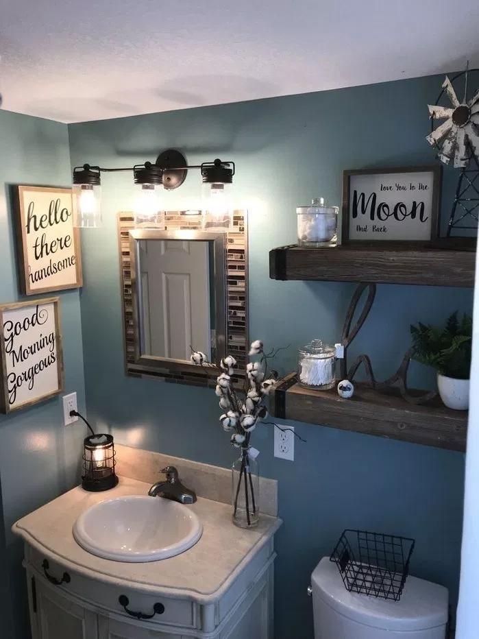 45 Delicate Farmhouse Bathroom Decor