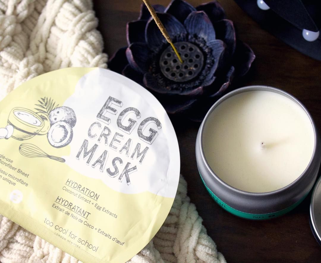 Also on tonight's agenda  ( @toocoolforschool.us Egg Cream Hydrating sheet mask from @sephora )