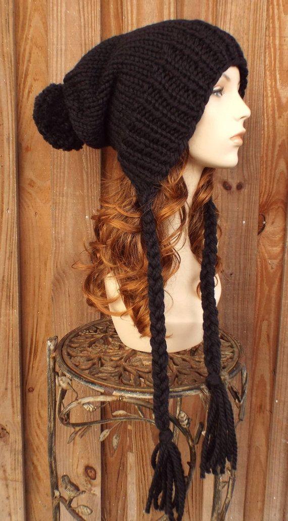 e32c1b2700d Black Slouchy Knit Hat Womens Hat Black Hat Extra Slouchy Beanie ...