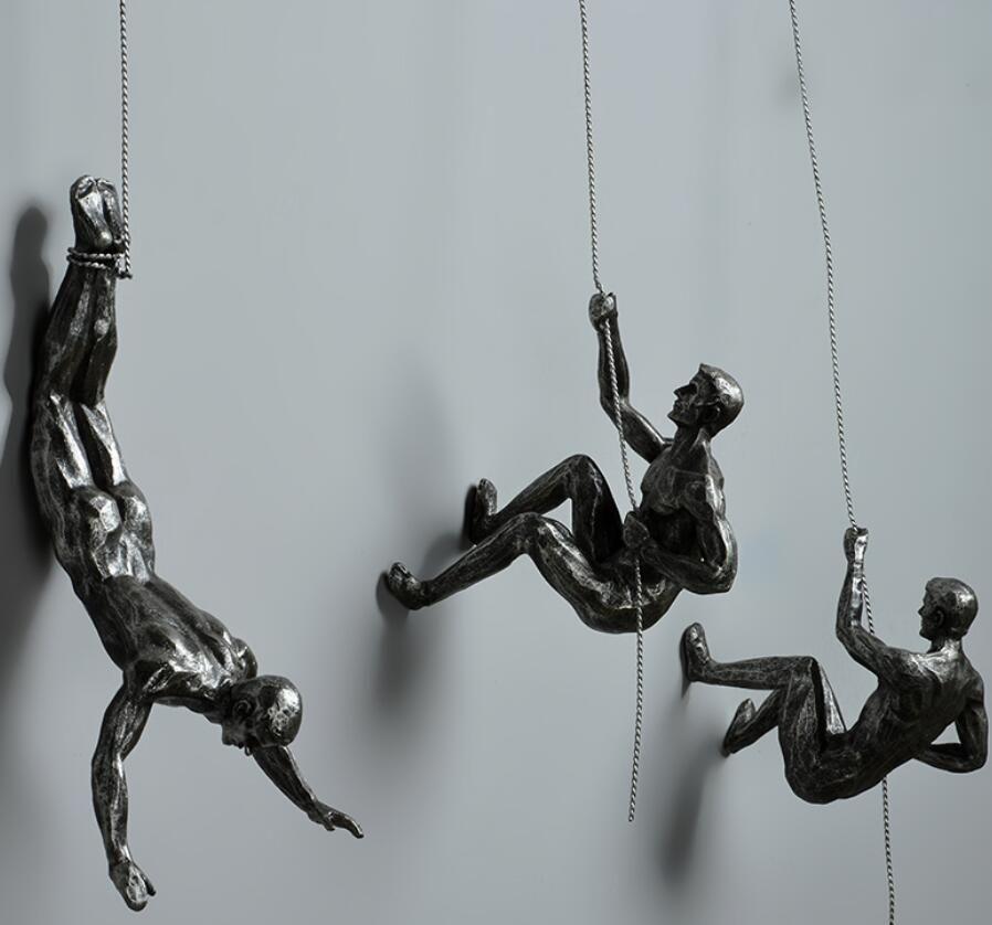 Industrial Style Retro Sport Rock Climbing Man Sign Wall Decoration Sculpture