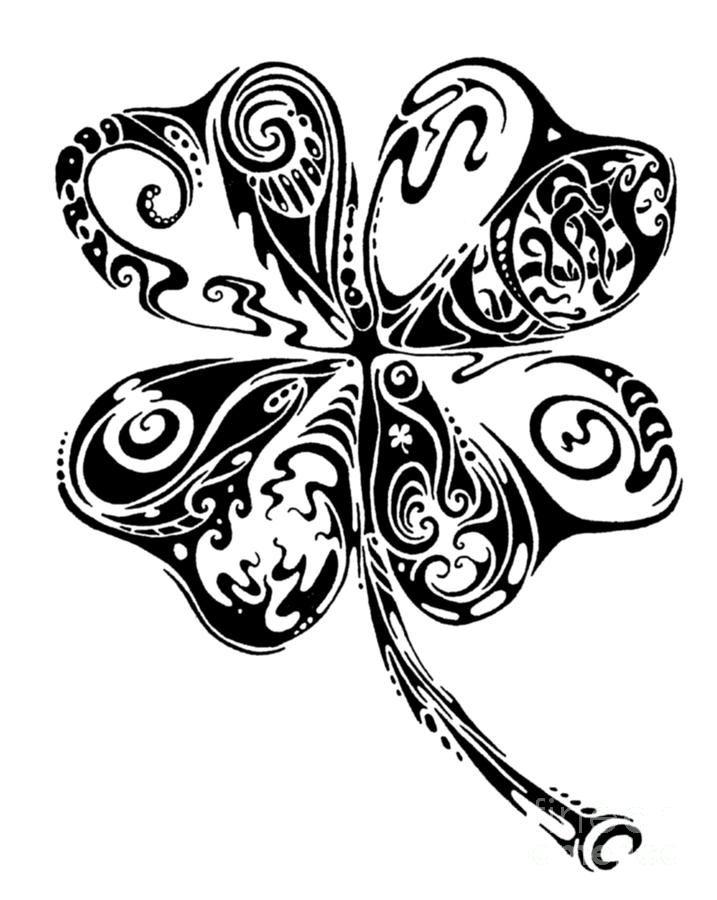 Tribal Shamrock Drawing - Tribal Shamrock Fine Art Print   Henna ...