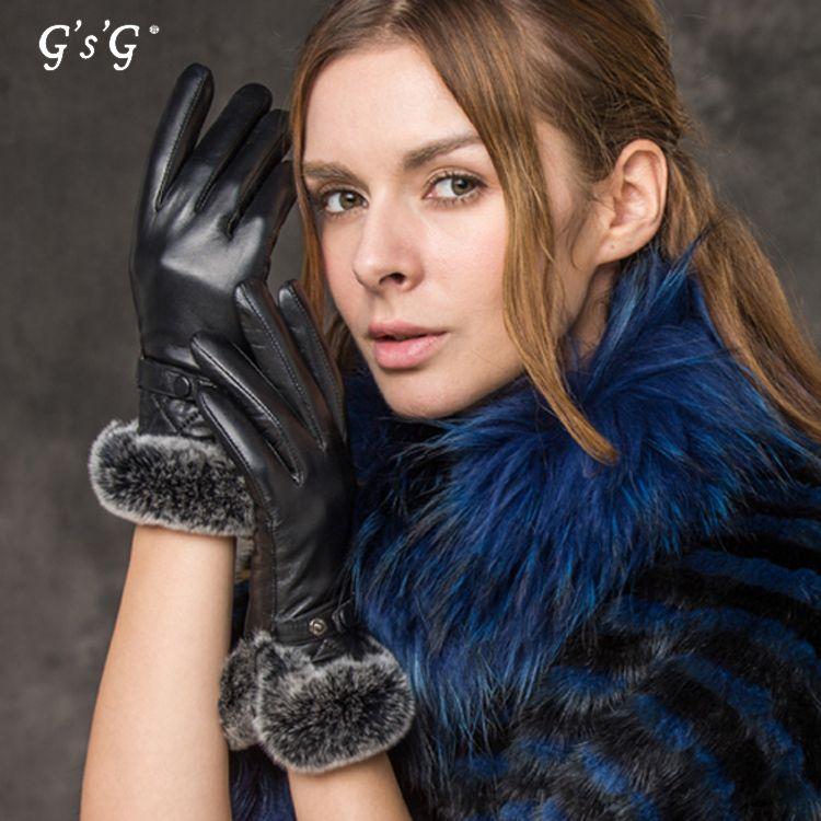 Women/'s Winter Warming Gloves Real Leather Inside Fur Ladies Dress Fashion