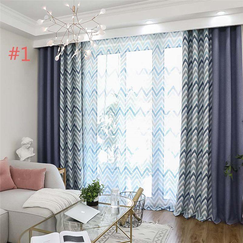 Mediterranean Style Wave Curtain Modern Simple Cotton Curtain