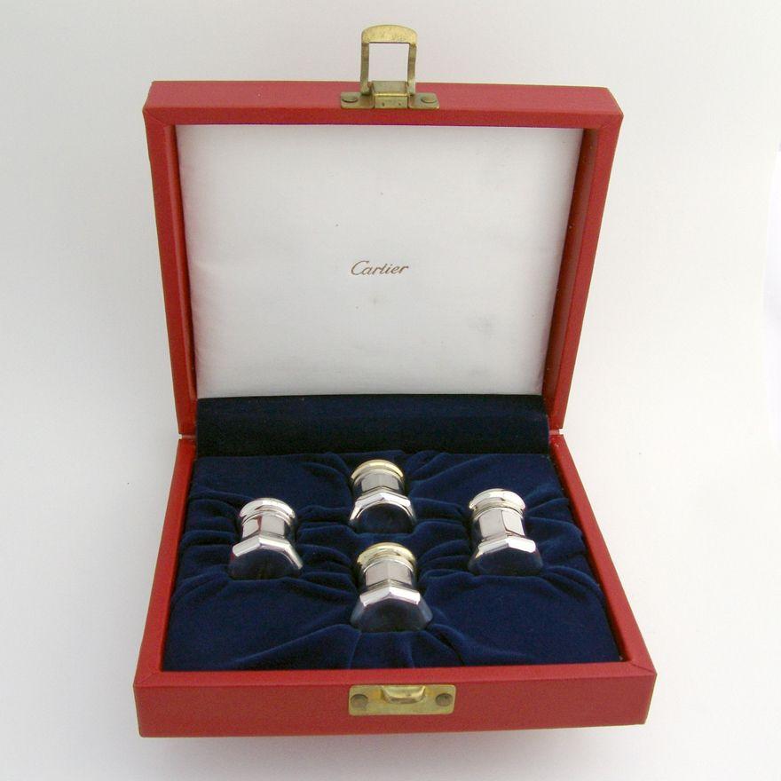 Salt And Pepper Shaker Set Sterling Silver Cartier 1980