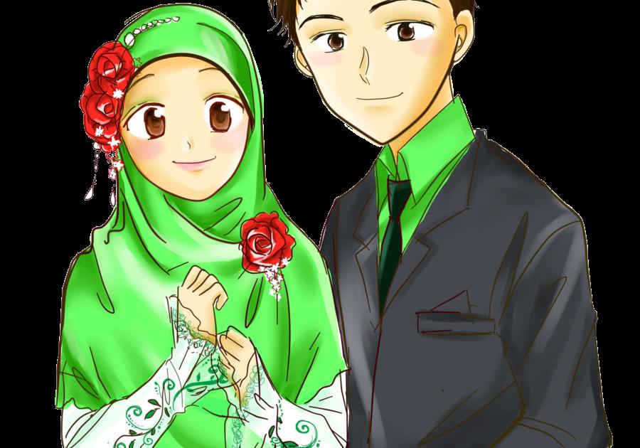 33 Gambar Animasi Kartun Muslimah Terbaru Cute Couple