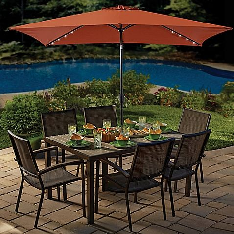 This Rectangular Solar Umbrella Is The Perfect Complement For Patio Tables During Day And At