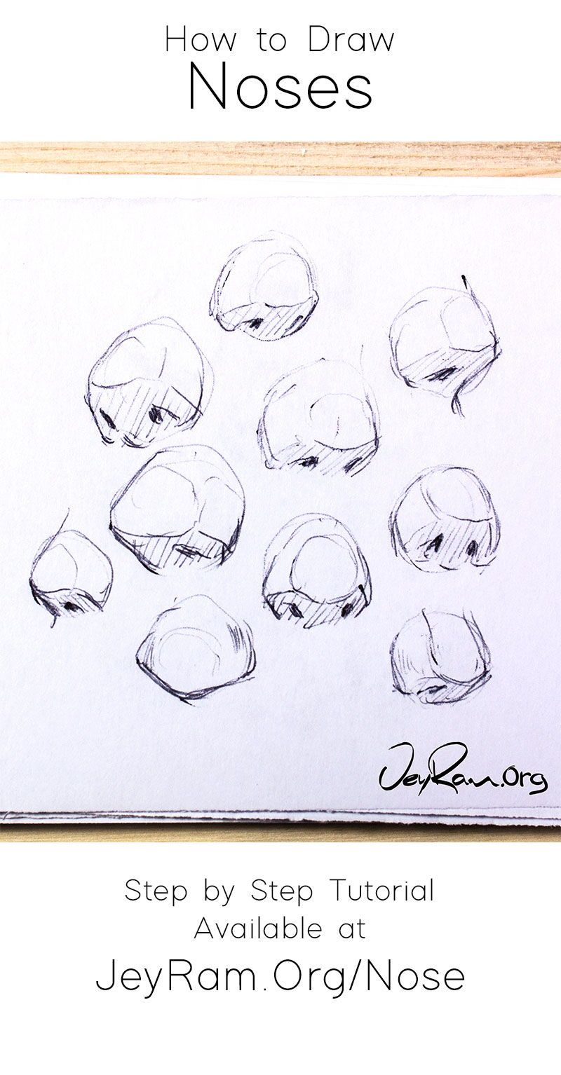 Learn how to draw simple noses with this step by step