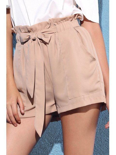 Pocket and Bowknot Design Chiffon Shorts #chiffonshorts Pocket and Bowknot Design Chiffon Shorts - NUDE L #chiffonshorts
