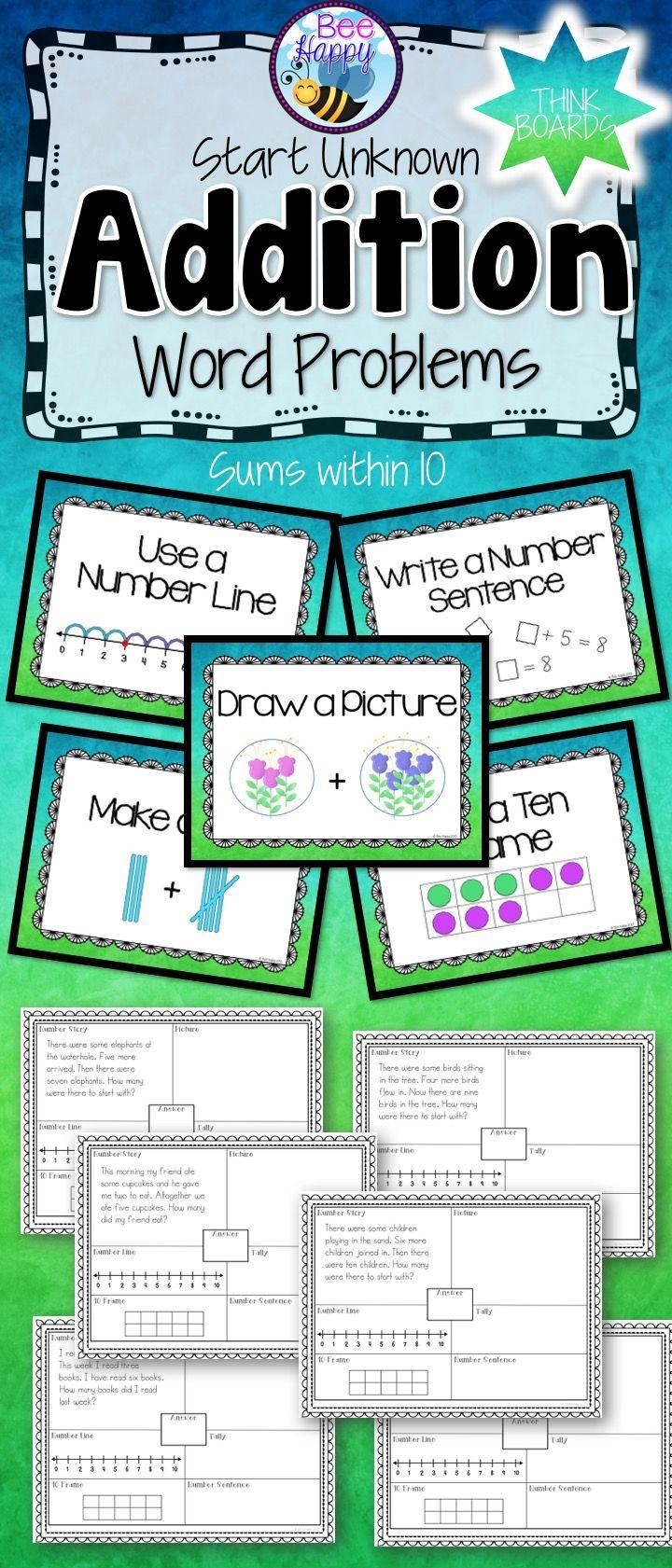 Addition Word Problems Start Unknown Think Boards And Posters Sums Within 10 Addition Words Addition Word Problems Word Problems Addition word problems 10